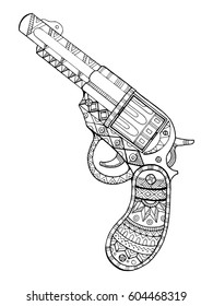 Revolver pistol coloring book raster illustration. Black and white lines. Lace pattern