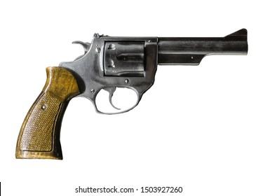 Revolver pistol isolated on white background.