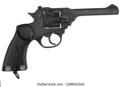 Revolver service pistol for the armed forces of the United Kingdom, and the British Empire and Commonwealth isolated on white