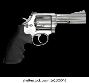 Revolvers gun isolated on black background