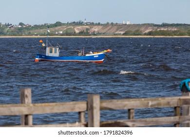 REWA, POLAND - CIRCA MAY 2020: Beautiful boats in the port of Rewa on the Baltic Sea circa May 2020 in Rewa.