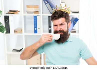 reward for fresh ideas. Businessman in gold crown. Happy man drink coffee. Boss workplace. Bearded man in business office. egoist. wishing to be big boss. reward and success. business reward. party.