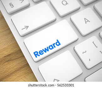 Reward Written on the White Keypad of Modern Keyboard. Online Service Concept with Modern Computer Enter White Button on Keyboard: Reward. 3D Illustration.