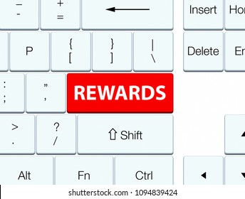 Rewards isolated on red keyboard button abstract illustration