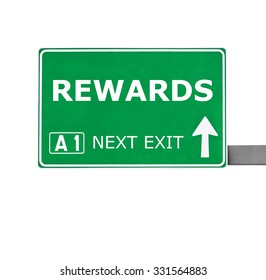 REWARDS road sign isolated on white