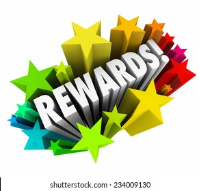 Rewards word in colorful stars illustrating a reward, bonus, prize, enticement or incentive for good performance or to encourage buying or other behavior