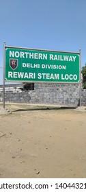 Rewari, Haryana, India- 22 / 03 /2019: Sign board at Rewari loco Museum