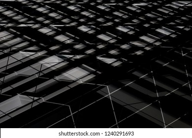 Reworked photo of blinds / louvers. Checkered structure resembling windows. Grunge abstract black and white background on the subject of modern architecture, industry or technology.