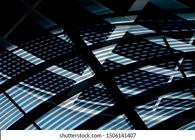 Reworked photo of grid structures of roof and ceiling. Modern architecture with transparent hi-tech glass panels. Abstract geometric background with checkered pattern in shades of blue color.