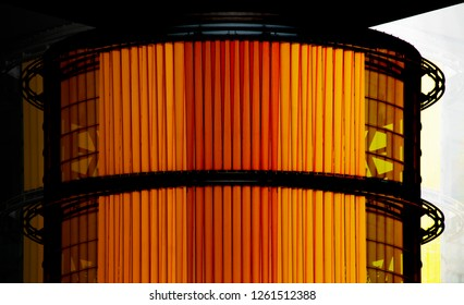 Reworked photo of office building interior fragment with louvered structure in bright orange color. Abstract background on the subject of modern architecture, technology or interior.