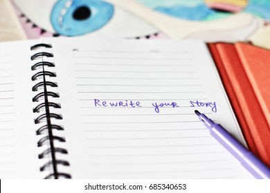 Rewrite your story or Make notes background, Writer, New life, Be happy, make notes, Eye background, Creative workshop, Creative workplace, Find yourself