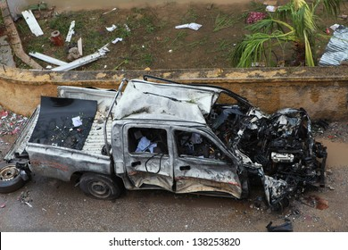 REYHANL, TURKEY-MAY 12: Death toll rises to 46 as explosions hit Turkish town Reyhanli with Syria on May 11, 2013. View of a car in this event. The Photo was taken May 12, 2013.