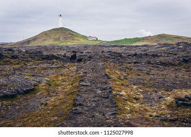 Reykjanes lighthouse on Reykjanes Peninsula in Iceland