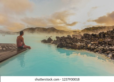 Reykjanes Peninsula, Iceland -October 17, 2018:Landscape View Of The Beautiful Hot Spring/ Blue Lagoon With Crowds of People At Sunset