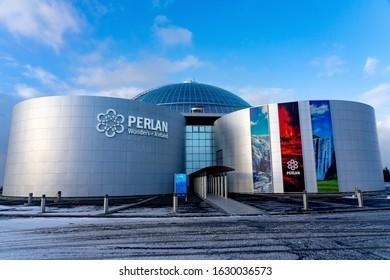 Reykjavik, Iceland - 01.19.2020 : Perlan museum in Reykjavik Iceland with blue sky .