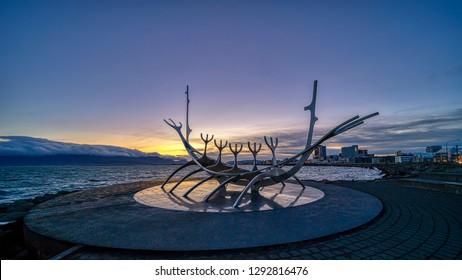 Reykjavik, ICELAND - 19 September 2018: Sunrise at the iconic Sun Voyager sculpture in Reykjavik, Iceland.