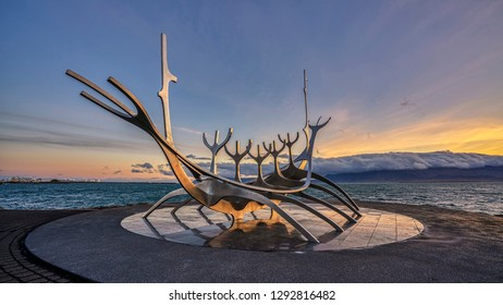 Reykjavik, ICELAND - 19 September 2018: Sunrise at the iconic Sun Voyager sculpture in Reykjavik, Iceland.