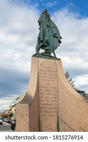 Reykjavik, Iceland- 27 August 2015: View of the Leif Ericsson Monument. Norse explorer from Iceland.
