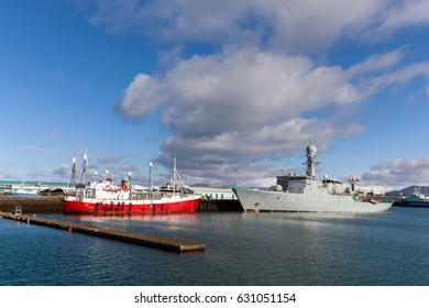 REYKJAVIK, ICELAND - APRIL 12 2017: HDMS Triton in the Reykjavik's harbor. The Triton is a Thetis-class frigate belonging to the Royal Danish Navy.