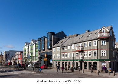 REYKJAVIK, ICELAND - APRIL 12 2017: Laekjargata street in the downtown Reykjavik, takes its name from the stream that once ran along the street, from the Tjornin to the sea.