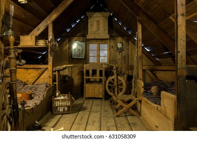 REYKJAVIK, ICELAND - APRIL 15 2017: An exhibit depicting the interior of an earlier Icelandic home in the National Museum of Iceland, established in 1863.