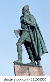 REYKJAVIK, ICELAND - APRIL 15 2017: Statue of Leif Eriksson, the best known Viking to have explored North America, erected in Reykjavik, Iceland in 1932, sculpted Alexander Stirling Calder.