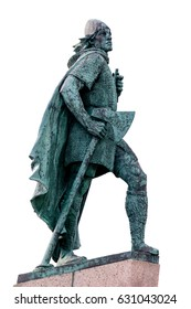 REYKJAVIK, ICELAND - APRIL 9 2017: Statue of Leif Eriksson, the best known Viking to have explored North America, erected in Reykjavik, Iceland in 1932, sculpted Alexander Stirling Calder.