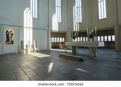 REYKJAVIK, ICELAND - AUGUST 11, 2017: The interior of the Hallgrimskirkja Cathedral, lutheran parish church