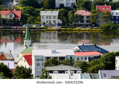 REYKJAVIK, ICELAND - AUGUST 19, 2017: Architecture of  Reykjavik,   the capital and largest city of Iceland