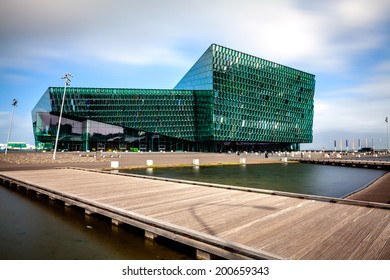 REYKJAVIK, ICELAND - AUGUST 31, 2013: Harpa concert hall in Reykjavik, Iceland. Harpa was opened on May 13, 2011. It was selected as Best Performance Venue 2011 by Travel & Leisure magazine