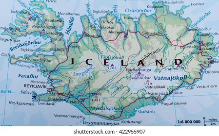REYKJAVIK, ICELAND - CIRCA MAY 2016: Map of Iceland with selective focus on name of country