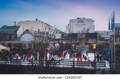 Reykjavik, Iceland, December 2015. Children skating on the ice rink located in the center of the city, at Christmas parties