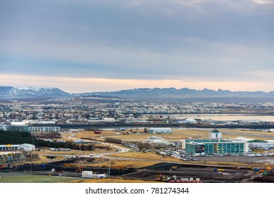 Reykjavik, Iceland. December 2017. Scenic view of Reykjavik downtown, capital city of Iceland from the tower of Hallgrimskirkja church.
