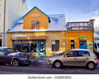 Reykjavik, Iceland - FEB 12, 2018. Café Babalú(Cafe Babalu) , One of the Best Cafe in Reykjavik, Iceland