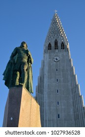 REYKJAVIK, ICELAND. FEBRUARY 12, 2018. Hallgrimskirkja Church on a sunny winter day. Reykjavik, Iceland