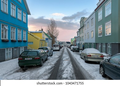 REYKJAVIK, ICELAND - FEBRUARY 16: Houses on Karastigur Street near Skolavordustiger during winter on February 16, 2018 in Reykjavik