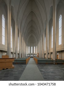 REYKJAVIK, ICELAND - FEBRUARY 16: Interior of the Hallgrimskirkja church on February 16, 2018 in Reykjavik