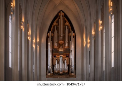 REYKJAVIK, ICELAND - FEBRUARY 16: Pipe organ inside the Hallgrimskirkja church on February 16, 2018 in Reykjavik