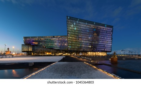 REYKJAVIK, ICELAND - FEBRUARY 17: Exterior of the Harpa Concert Hall during winter on February 17, 2018 in Reykjavik, Iceland