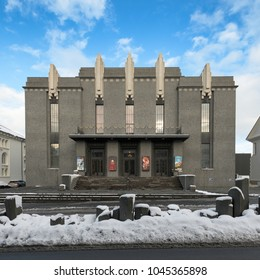 REYKJAVIK, ICELAND - FEBRUARY 17: Exterior of the National Theater of Iceland (opened in 1950) on February 17, 2018 in Reykjavik, Iceland