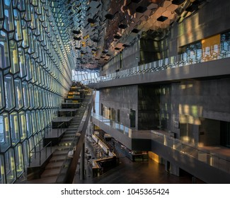 REYKJAVIK, ICELAND - FEBRUARY 17: Interior and lobby of the contemporary Harpa Concert Hall on February 17, 2018 in Reykjavik, Iceland
