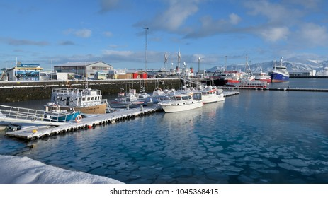 REYKJAVIK, ICELAND - FEBRUARY 17: The Old Harbour marina during winter on February 17, 2018 in Reykavik, Iceland