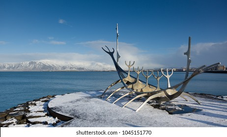 REYKJAVIK, ICELAND - FEBRUARY 22, 2018: Solfar or Sun Voyager monument at the seafront of Reykjavik, Iceland. The sculpture was designed by Jon Gunnar Arnason in 1971.
