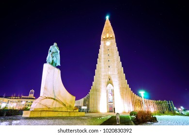 Reykjavik, Iceland - January 27, 2017: View of the Hallgrimskirkja Church and the statue of Leifur Eiriksson in Reykjavik at night on January 27, 2017.