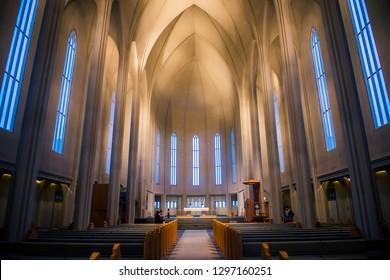 REYKJAVIK, ICELAND, JANUARY 27,2019. Hallgrimskirkja is a Lutheran parish church cathedral in Reykjavik, Iceland.Beauty stony modern church Hallgrimskirkja in center of Reykjavik - Iceland.