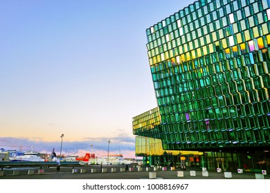 Reykjavik, Iceland - January 28, 2017: View of the Harpa Music Hall and Conference Centre at dawn in Reykjavik on January 28, 2017.