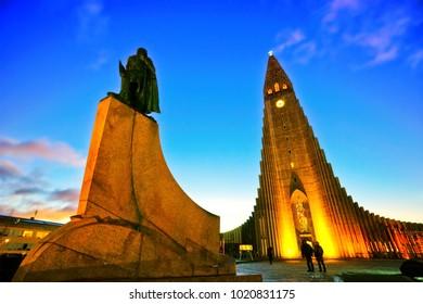 Reykjavik, Iceland - January 28, 2017: View of the Hallgrimskirkja Church in Reykjavik at dawn on January 28, 2017.