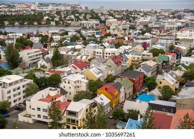 Reykjavik, Iceland - July 17, 2017: Aerial view of Reykjavik town centre in Iceland, from the Hallgrímskirkja Church.