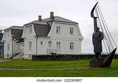 Reykjavik, Iceland - July 23, 2016: Hofdi Manson and Einar Benediktsson Monument
