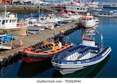 REYKJAVIK, ICELAND - JULY 25: Harbour on 25 July 2017 at Reykjavik. Reykjavik has a harbour for both fishing and tourism.